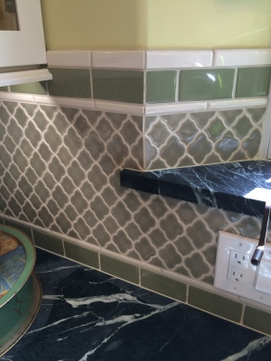 moroccan style tile and soapstone counter
