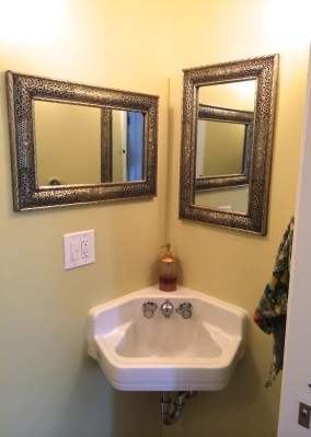 the original corner sink was saved to reuse, along with fixtures